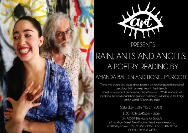 Rain, Ants And Angels – Poetry reading by Lionel Murcott and Amanda Ballen