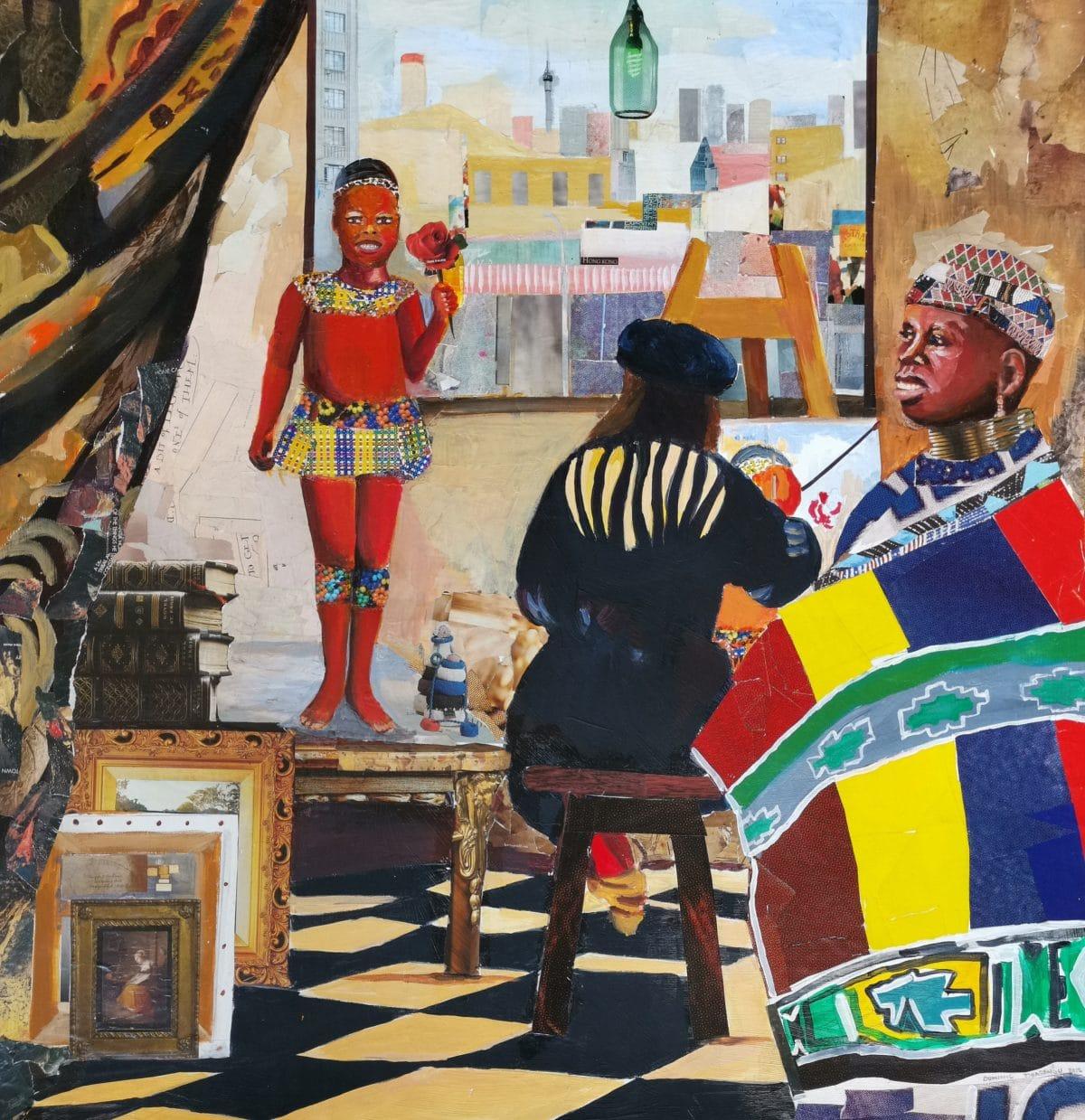 Dominic Tshabangu - Acrylic and Collage on Card - 2016