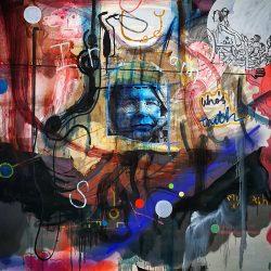 Wayne Barker - Mixed Media on Canvas on Board - 150 x 150 cm