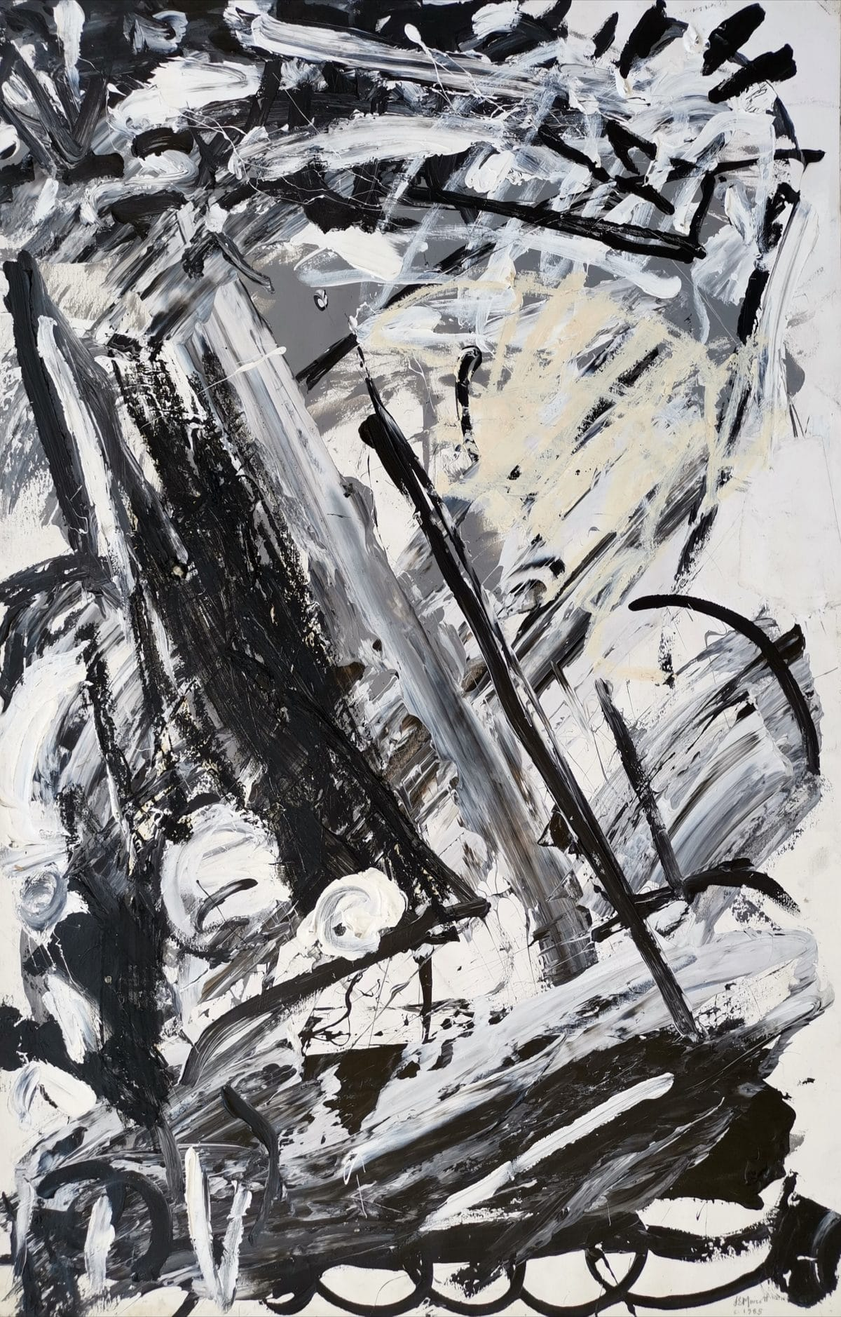 Lionel Murcott - Black and White and everything in between 1985 - Oil and MM on Fabriano