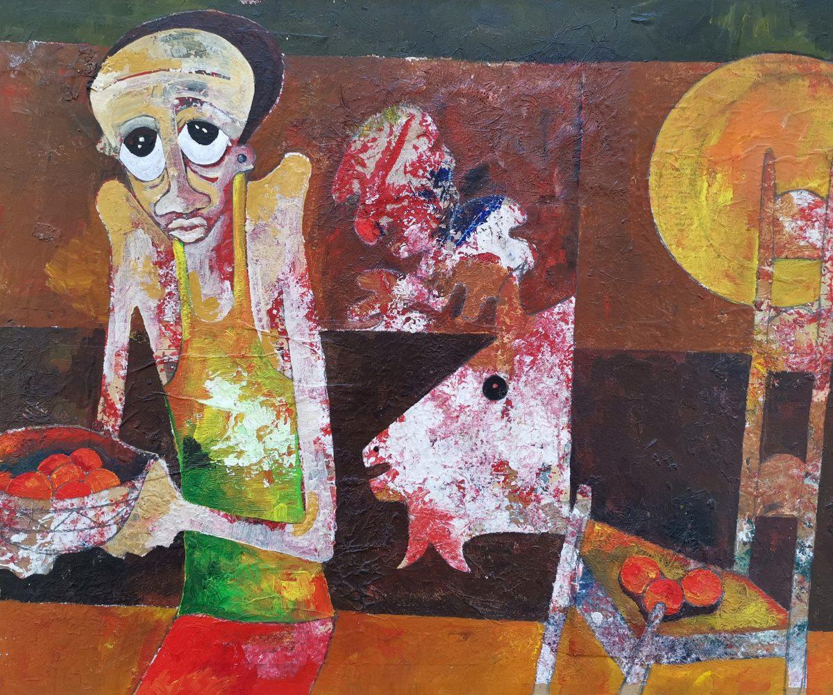 Speelman Mahlangu - Mixed Media on Board - 50 x 60 cm