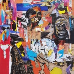Dominic Tshabangu - Mixed Media and collage on Card