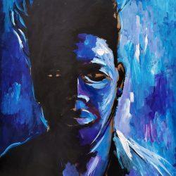 Dominic Tshabangu - Blue Faces series - 2019