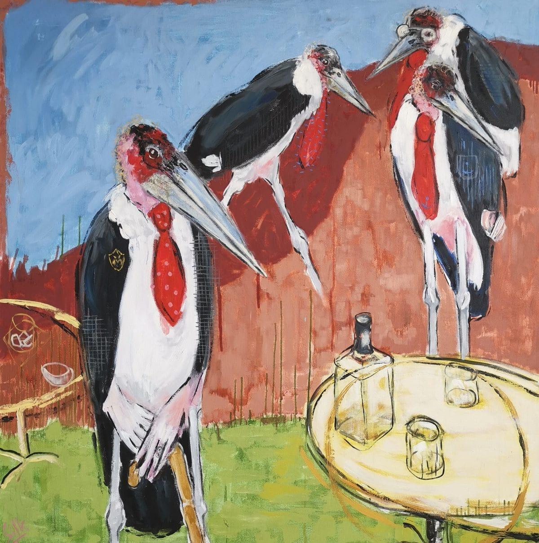 Michel Silk - Old Boys Club - Oil on Canvas