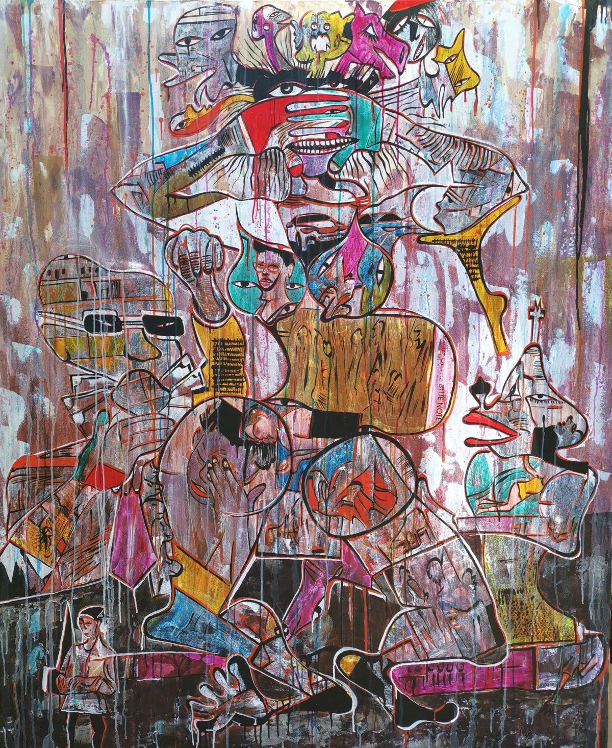 Blessing Ngobeni - Mixed Media and collage on Canvas