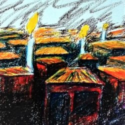 City of candles 4 pastel on fabriano paper 35 x 50cm close up