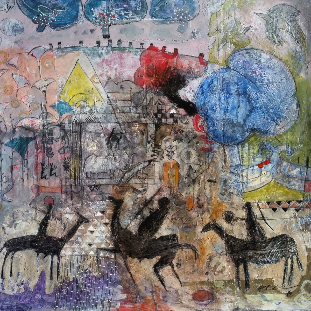 Hussein Salim - Mixed Media on Card - 2015