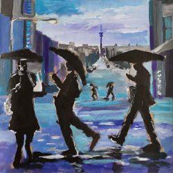 Dominic-Tshabangu-Rainy-day-75-x-75-cm-Blue-City-Series