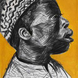Dominic Tshabangu - Acrylic and Mixed Media on Fabriano